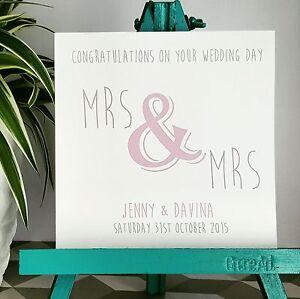 PERSONALISED Handmade Wedding Card Mrs & Mrs Choice of colours Civil Gay PURPLE