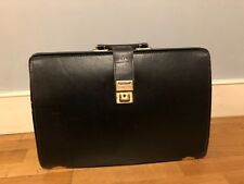 Papworth top frame black leather briefcase