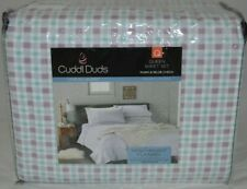 Cuddl Duds Flannel Sheet Set Purple/Blue Check- Size Queen