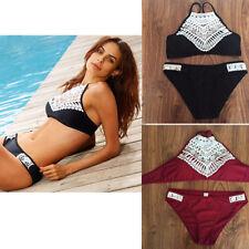 2tlg Damen Spitze Bikini Set Bandage Bademode Badeanzug Triangle Monokini S-XL