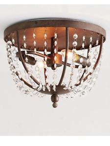 Pottery Barn Quinn Crystal Chandelier Flush Mount Ceiling Light Fixture
