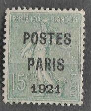 n°28 Préoblitéré POSTE PARIS 1921 15c Neuf sans gomme TB - Signé