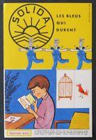 BUVARD SOLIDA bleu de travail salopette Oiseau dans la cage Blotter