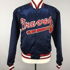 VTG Starter Diamond Collection MLB Atlanta Braves Blue Satin Jacket sz L 90s
