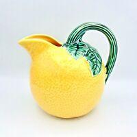 "C & R Japan Lemon Majolica Juice Pitcher Vintage 7"" Retro Kitchen Yellow Green"
