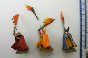 3 EMPIRE BATTLE WIZARDS (1 damaged) Plastic Cities of Sigmar Army Painted 44