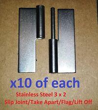 10 Set Slip Joint/Take Apart/Flag/Lift Off Hinge 3 x 2 Stainless Steel 1161/62