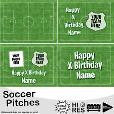 Soccer Football Pitch Cake Topper Personalised Edible Icing