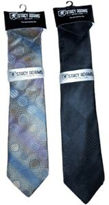Tie & Hanky Set Stacy Adams Black White Hand Made 100% Microfiber LOT of 2 Ties