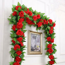 Simulation Green Leaves Artificial Rose Fake Ivy Vine Hanging Garland Home Decor