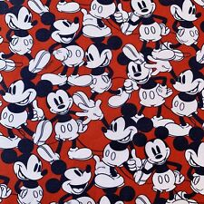 OFFCUT  DISNEY MICKEY MOUSE CHILDRENS CHARACTER RED FABRIC