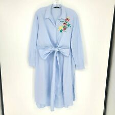Zara Basic womens long sleeve button front tunic duster size Large