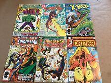 6 Vintage Comics Spider Man,Hulk, Dazzler,Xmen,Starfire