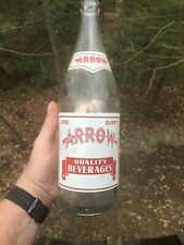Vintage Arrow Beverages 32oz Soda Bottle From Wilkes-Barre PA. Clear Glass