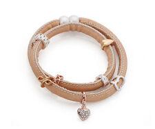 Tan / Beige Nubuck Leather Wrap around Bracelet Rose Gold Silver diamante Charms