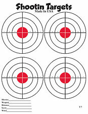 50 4-up Red Bullseye Paper Shooting Targets for hand gun and rifle practice