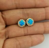 14K Yellow Gold Round Blue Opal White Sapphire Stud Earrings