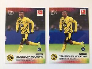 (2) 2020 Topps Now Youssoufa Moukoko Rookie Card RC Lot #45 Bundesliga BVB