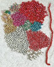 Vintage 1300+ Lot Loose Mercury Glass Beads for Garland Icicles Crafts Christmas