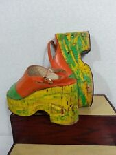 Vtg 70s Plot Form Sandals Shoes Slingback Leather Orange Green Yellow Disco 6 N