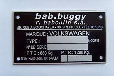Plaque constructeur BUGGY BABOULIN - BUGGY BABOULIN vin plate