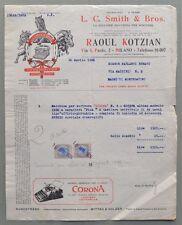 MILANO. Vecchia fattura (anno 1926). MACCHINE DA SCRIVERE SMITH & BROS.