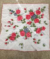 "Gorgeous vintage silk White Red Gray Roses Flower Bud Scarf 30"" x 30"" Wrap"