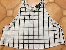 Ice brand size S black & white check summer crop tank top