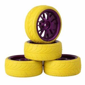 4PCS Purple Y-shape Aluminum Alloy 52x26x12mm Wheel Rim & Yellow Rubber Tires