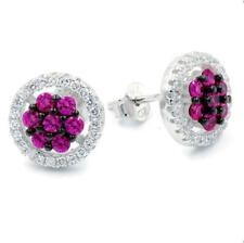 STERLING SILVER 925 RHODIUM PLATED STUD CZ EARRINGS