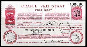 ORANGE FREE STATE POSTAL ORDER NOTE 1/6 USED 1898 BLOEMFONTEIN ZASTRON