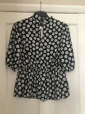 BRAND NEW GEORGE AT ASDA FLORAL CHIFFON BLACK/WHITE FLORAL TOP - SIZE 12