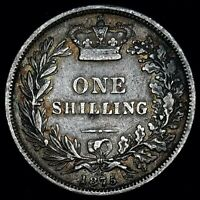1875 Great Britain Silver Shilling  Queen Victoria  VF  KM# 734.2  Free Shipping