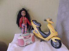 Barbie doll scooter barbie + poupee barbie Sister + radio cassette barbie