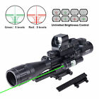 Rifle Scope 3-9X40 Rangefinder + Red Green Dot Sight + Green Laser + Riser Mount