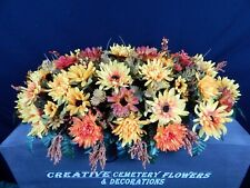 Fall Mixed Bush Memorial Cemetery Flower Headstone Saddle