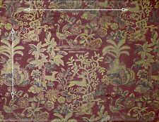 Vintage Wallpaper Gold and Burgundy Deer Traditional Birds Floral Leaves