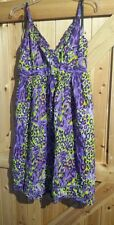 "Pretty Hippie / Boho Dress Size 12 Chest 36"" - 38"" Approx In Purple Yellow Mix"