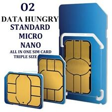 o2 /02 MICRO - STANDARD - NANO SIM IDEAL FOR IPHONE NEW OFFICIAL TRIPLE SIZE SIM