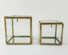 2 x Schmuckkasten Vitrine Glas Metall Gold Messing Glasdose Glaskasten Box Set