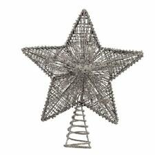 Wire Silver Glitter Star Light Up Christmas Tree Topper