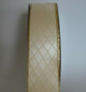 """Wire edge 1.5"""" Christmas ribbon, cream with gold edging, crafts, bows, per metre"""