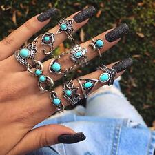 11 PCS/Set Vintage Mix Design Stone Knuckle Rings Set Boho Flower Rings Jewelry-