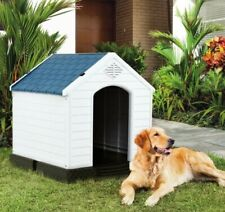 Plastic Dog House Pet Waterproof Doghouse Indoor Outdoor Use Blue White Durable
