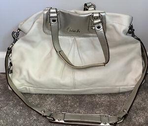 COACH White Silver Ashley Handbag Purse Leather F15513