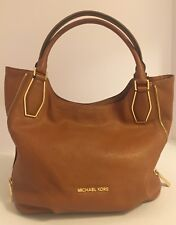 Michael Kors Vanessa Medium Leather Shoulder Tote - Luggage Gold
