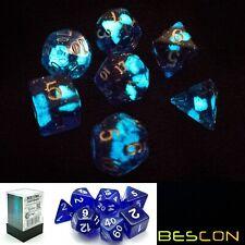 Bescon Glow in the Dark Polyhedral Dice Set DEEP SPACE, Luminous RPG Dice Set