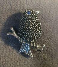 Vtg ANNE KLEIN Bird Brooch Pin Lapel blue rhinestone eye