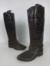 Womens Boots Size 6 Brown Leather River Island Pull On Knee High Ladies Low Heel