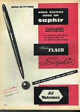 G- Publicité Advertising 1959 Le Stylo Super Flair JIF Waterman